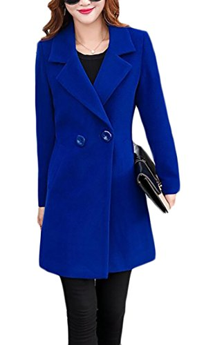Wool Coat One Button (CRYYU Womens Casual Notched Lapel One-Button Wool Blended Pea Coat Overcoat Royalblue US L)