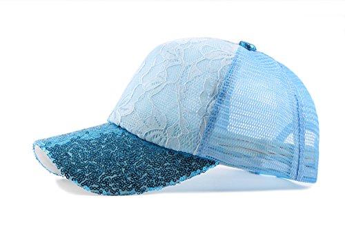 Imprimé Voyage Bleu Fleur Casquette Baseball Chapeau Soleil Paillette Ajustable De Sport Femme Acvip Visière xv0Ogg