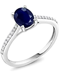 10K White Gold Blue Sapphire and Pave Diamond Engagement Solitaire Ring 8x6mm Oval, 1.89 cttw (Available 5,6,7,8,9)