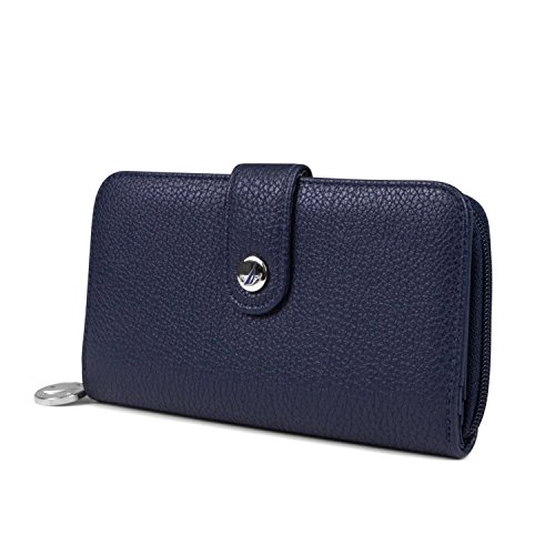 Nautica Be Shore Womens Wallet RFID Blocking Zip Around Clutch (Indigo)
