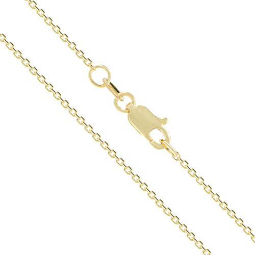 14K Solid Yellow Gold 30 Gauge 0.8mm Cable Chain Necklace - 16 Inches 14k Gold 14 Gauge