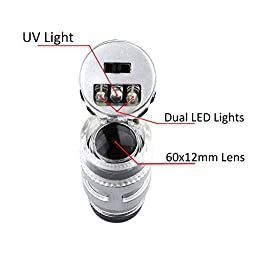 60X mini illuminated Jeweler LED UV Lens Loupe with Kare and Kind retail package (60X)