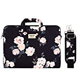 MOSISO Laptop Shoulder Bag Compatible with 13-13.3 Inch MacBook Air, MacBook Pro Retina, Surface Laptop 2, Surface Book, Canvas Briefcase Case Sleeve with Back Trolly Belt, Apricot Peony
