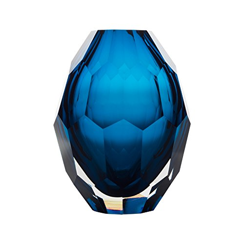 CASAMOTION Home Decor Accent Vase Diamond Shape Solid Color Hand Blown Art Glass Vase, Blue