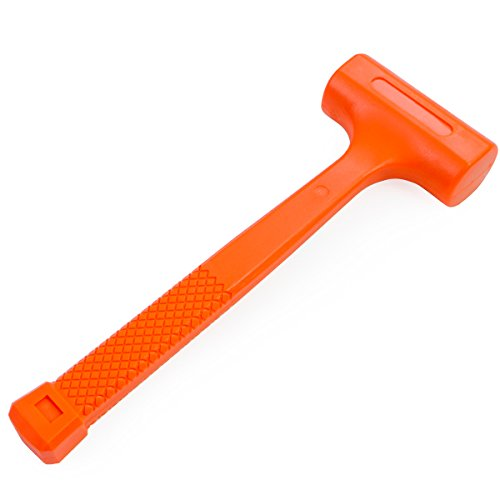 Stark 1LBS Dead Blow Hammer Grip Mallet Checkered Handle Spark and Rebound Resistant, Orange