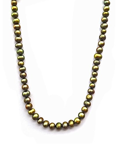 Regalia by Ulti Ramos Sterling Silver 7-8mm Circle Cultured Freshawter Pearl Necklace (Olive, 18.0)