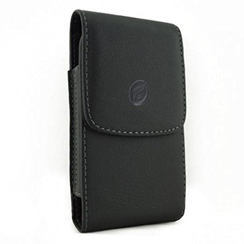 Black Vertical Leather Case Side Cover Protective Pouch Holster Belt Rotating Clip w Loops for iPhone 6 Plus, 6S Plus, 7 Plus, 8 PLUS - Google Pixel 2 XL - LG Stylo 3 V20 - Samsung Galaxy S9+