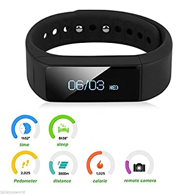 arVin Sport Bracelet Watch, Bluetooth 4.0 Wristband, Wireless Activity Tracker Health Sleep Monitor Step Counter Pedometer Alarm Adjustable Band for IOS 7 and Android 4.3 Above (Black)