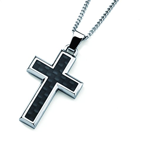 Men's Stainless Steel Cross Pendant Necklace with Carbon Fiber Accent, 24