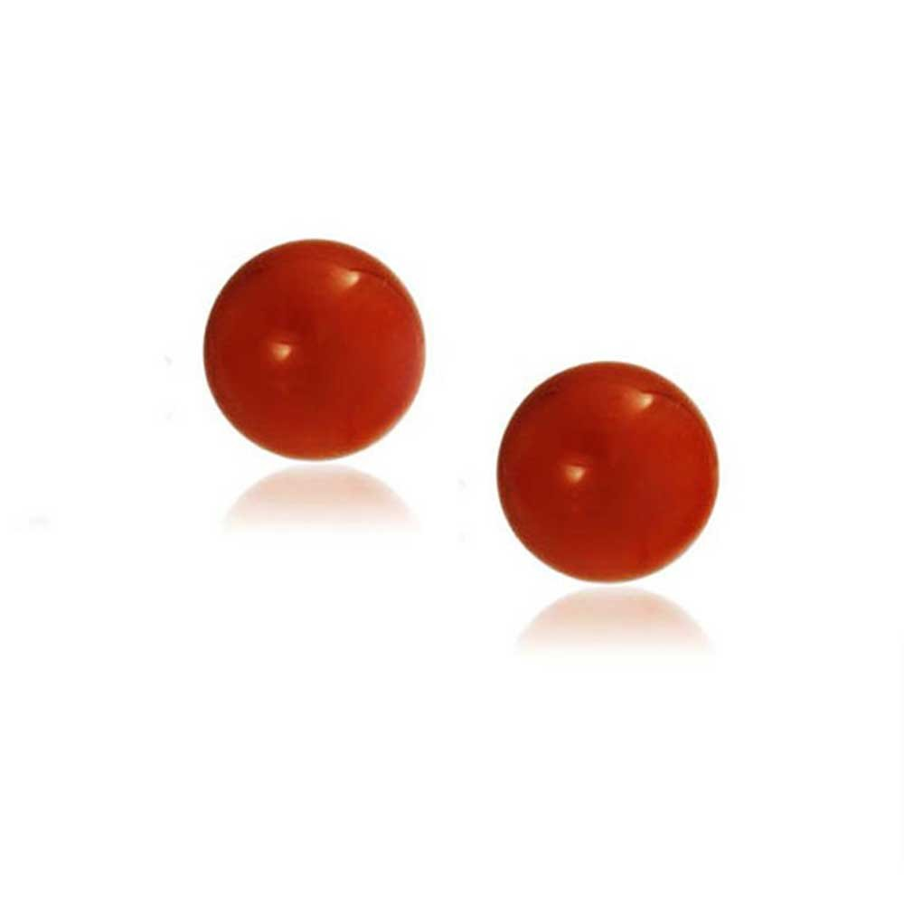 Round Dyed Carnelian Bead Sterling Silver Ball Studs 8mm by Bling Jewelry (Image #3)