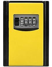 caja de almacenamiento de llaves, caja de cerradura de combinación de 4 dígitos, caja de seguridad montada en la pared para llaves de repuesto de la casa, Airbnb, garaje(Amarillo)