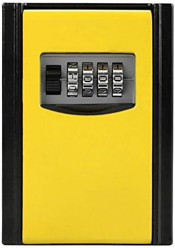 Asixx Schlüsseltresor mit Zahlenschloss, 4-faches Schlüsselschränke oder Ziffernkombination Kennwort Schlüssel-Aufbewahrungsbox Wandmontiertes zur Aufbewahrung von Schlüsseln, Hauskarten(gelb)