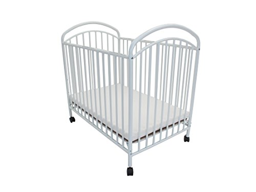 Classic Arched Compact Size Metal Non-Folding Crib, White