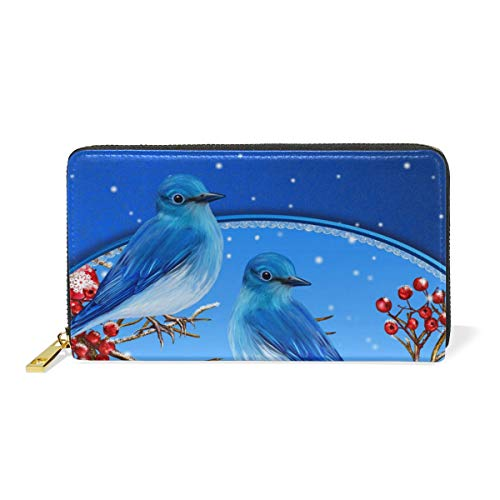Womens Handbags Organizer Clutch Zip Christmas Around Purses TIZORAX Blue Wallet Birds And qnHRfftSx