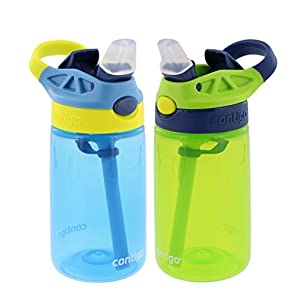 Contigo Kids Autospout Gizmo Water Bottle, 14oz (Nautical Blue/Chartreuse) - 2 Pack