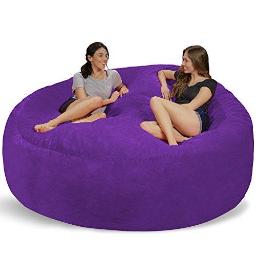 Chill Sack Bean Bag Chair: Giant 8′ Memory Foam Furniture Bean Bag – Big Sofa with Soft Micro Fiber Cover – Purple Furry
