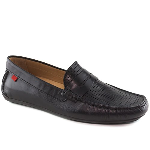 Men's Genuine Leather Made In Brazil Union Street Black Napa Peforated Driver Marc Joseph NY Fashion Shoes 10.5 by Marc Joseph New York
