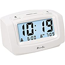 DreamSky Dual Alarm Clock With Smart Auto Nightlight, Snooze And Backlight , Dimmer , Battery Operated Alarm Clock For Bedroom , Ascending Loud Alarm Sound