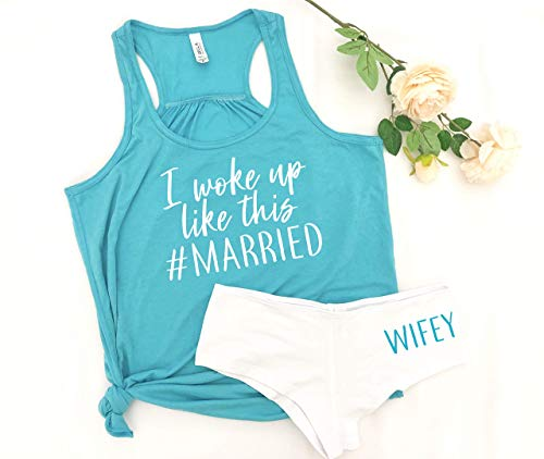 bachelorette gift honeymoon outfit bride gift idea just married t-shirts wifey panties lingerie for husband -