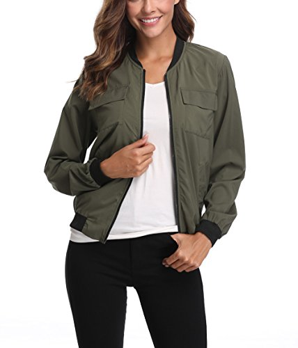 Womens Bomber - MISS MOLY Women's Army Green Zip Up Bomber Jacket Lightweight Classic Solid Long Bomber Jacket Coat w 2 Chest Pockets XL Size
