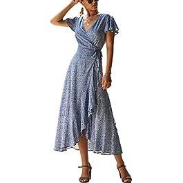 ECOWISH Women's Dresses Bohemian Wrap V Neck Short Sleeve Ethnic Style High Split Beach Maxi D