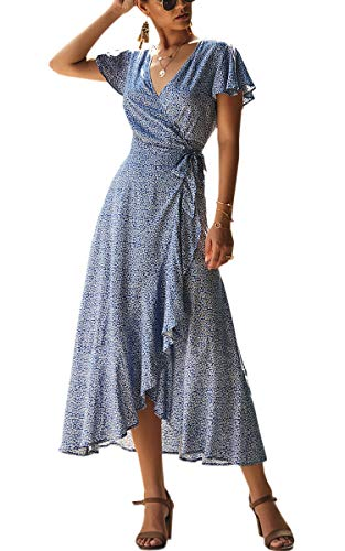 Chiffon Floral Wrap (ECOWISH Women's Dresses Bohemian Wrap V Neck Short Sleeve Ethnic Style High Split Beach Maxi Dress 023 Blue Medium)