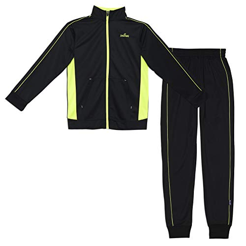 Spalding Boys Side Stripe Tricot Athletic Two-Piece Tracksuit Set Black/Yellow 14 - Embroidered Activewear Pant Set