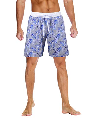 (Nonwe Men's Swimming Shorts Printed Quick Dry Water Sport with 3 Pockets Gray Pritend 32)