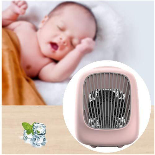 Portable Air Cooler Ice Fan,Quiet Personal Table Fan Baby Evaporative Air Circulator Cooler,Humidifier Purifier with LED Night Light,USB Air Conditioner for Office Home Outdoor Camping Travel (Pink)