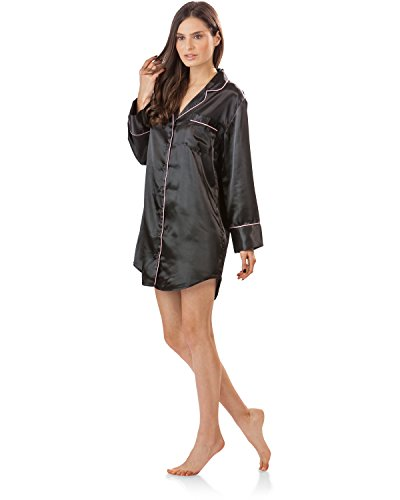 Ashford   Brooks Women s Satin Long Sleeve Night Shirt - Import It All e08a7d2e2