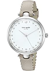 kate spade new york Womens Holland Quartz Stainless Steel and Leather Casual Watch, Color:Grey (Model: KSW1357)