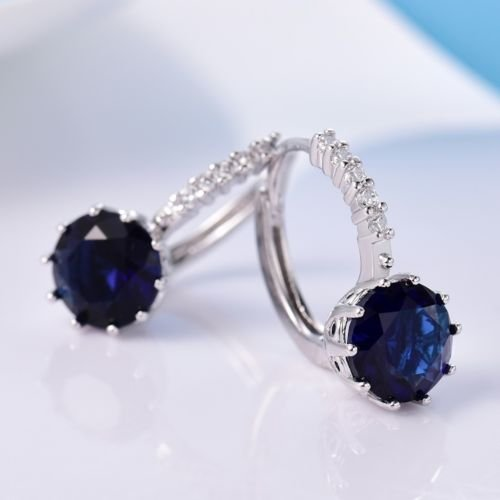 Gozebra(TM) Delicate 18K White Gold Filled Blue Sapphire Crystal Promise Leverback Earrings