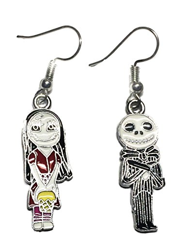 Nightmare Before Christmas Jack and Sally Enamel Filled French Wire Earrings