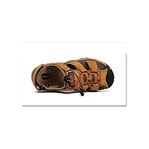 ca8c0ff3543d8 AGOWOO Men's Casual Leather Closed Toe Hiking Beach Sandals free ...