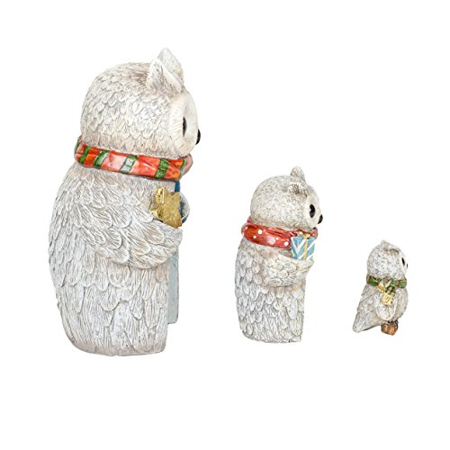 Winter Holiday 8 Inch Resin Nesting Owls Tabletop Figurines 3 Piece Set