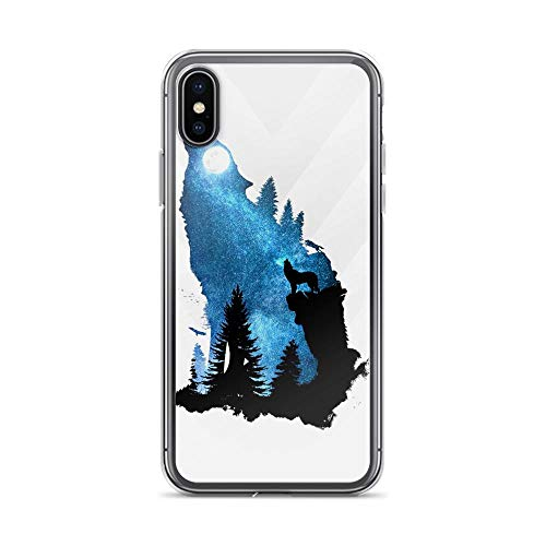 iPhone X/XS Pure Clear Case Cases Cover Call of The Wild Wolf Howling Silhouette