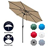 Sunnyglade 9' Patio Umbrella Outdoor Table Umbrella with 8 Sturdy Ribs (Tan)