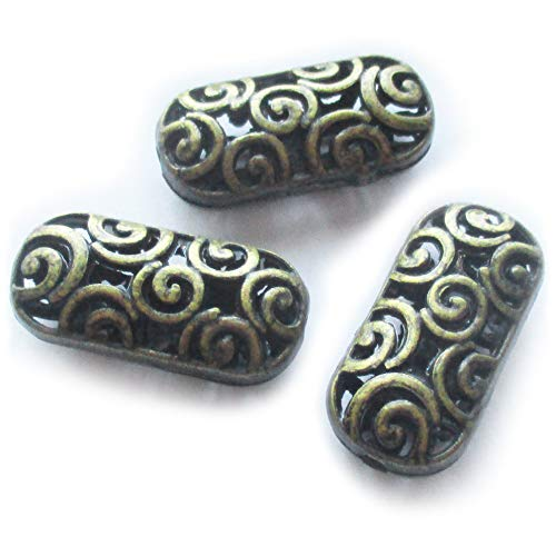 - Heather's cf 20 Pcs Bronze Hollow Tibetan Beads for Necklace Making Flat Long Spacer