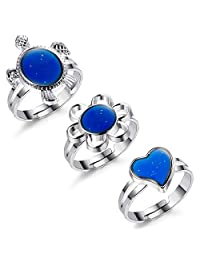 Finrezio Color Changing Mood Ring for Women and Girls Turtle/Flower/Heart Shaped Rings Adjustable Size 3Pcs SDF8-1
