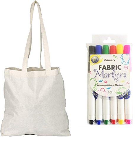 Lot de 5 Sac Shopper Bags Sac à provisions en coton avec feutres à tissue pour Arts créatifs Marron - Naturel