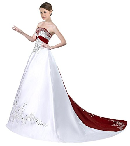 Snowskite Women's Strapless Satin Embroidery Wedding Dress Bridal Gown