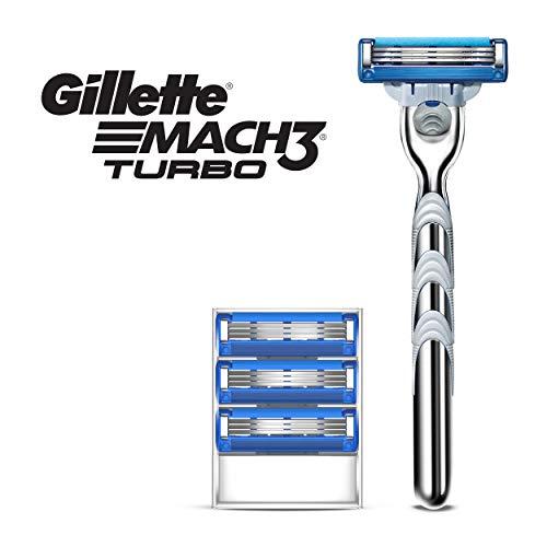 Gillette Mach3 Turbo Men's Razor Handle + 4 Blade Refills (Razor Gillette Mach 3)