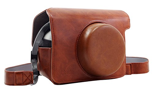 Katia Wide 300 Instant Camera PU Leather Case with Shoulder Strap for Fujifilm Instax Wide 300 Instant Flim Camera (Brown) (Fuji Instax Wide Camera Case)