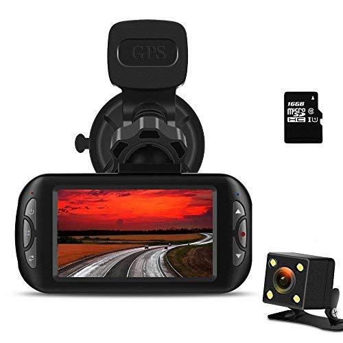 "Bluepupile Dash Cam 1080P FHD Dashboard Camera Recorder 170° Lens 3"" LCD Screen with GPS Night Vision G-Sensor"
