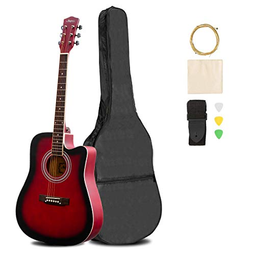ARTALL 41 Inch Handcrafted Acoustic Cutaway Guitar Beginner Kit with Gig bag & Accessories, Matte Sunset Blue