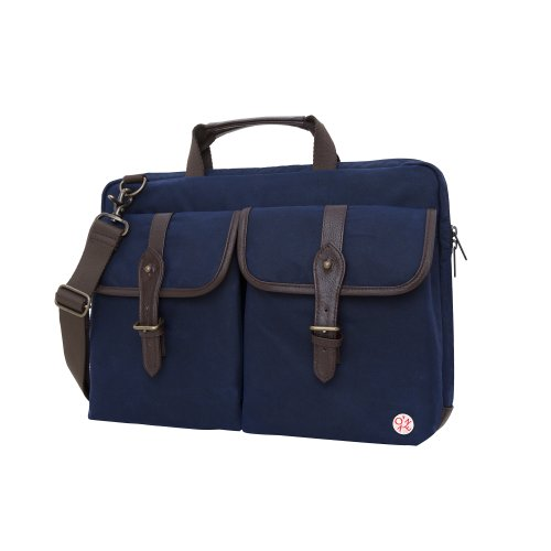 Token Bags Waxed Knickerbocker Laptop Bag 15 Inch, Navy/Dark Brown, One Size by Token Bags