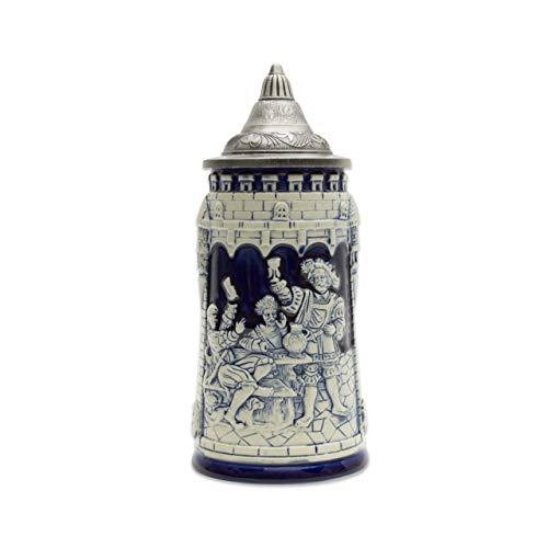 Beer Stein German Castle Festive Engraved Cobalt Blue Lidded Beer Mug by E.H.G. | .60 Liter
