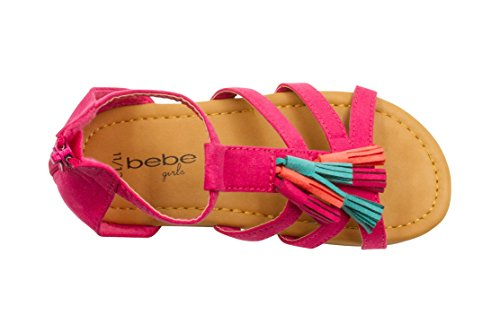 bebe Girls Velvet T Strap Back Zipper Ankle Sandals with Tassels 5/6 Fuchsia