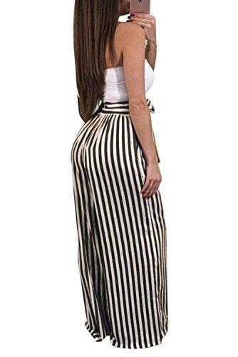 Pantaloni Pantalone Tempo Baggy Coulisse Pants Nero Libero Lunga Larghi Stripe Moda Pantaloni Pantaloni Donna Moda Con Eleganti Grazioso Larghi qx68wBP