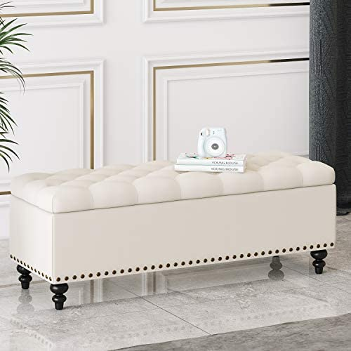 HUIMO Button-Tufted Ottoman with Storage in Upholstered Fabrics, Large Storage Bench for Bedroom, Living Room, Entryway, Storage Ottoman Bench with Safety Hinge Hold Up to 300lbs Ivory-Rivets